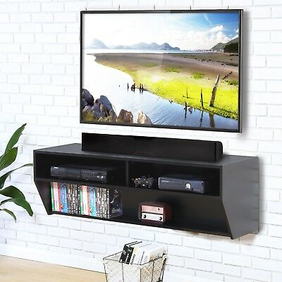 Wood Tv Stand Wall Mount Media Entertainment Console Center Desk