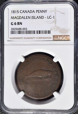 1815 Canada Magdalen Island Penny, NGC G6, LC-1
