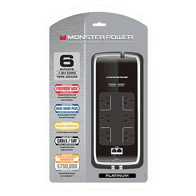 Monster Platinum Surge Protected 6 Outlet Fireproof Power Board
