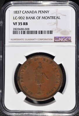 1837 Canada 1 Penny, Bank of Montreal, NGC VF 35, LC-9D2
