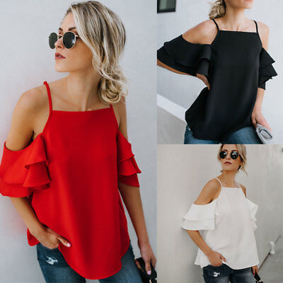 Fashion Women's Ladies Summer Short Sleeve Shirt Loose Casual Blouse Tops Shirt