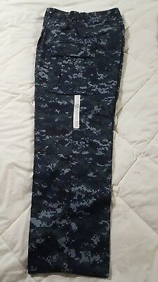 US Navy NWU Uniform Trousers Digital Navy Blue Camo Large-Regular New With Tags.