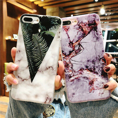 Chic Marble Plant Pattern Silicone Soft Slim Case Cover For iPhone X 8 7 6S Plus