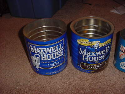VINTAGE LOT OF 3 COFFEE TIN CANS MAXWELL HOUSE 60s 70s 80s PROP ART