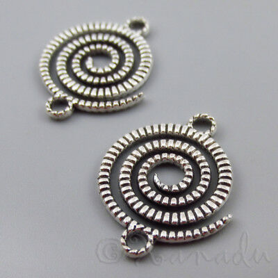 Spiral Connector Charms - 22mm Antiqued Silver Pendants C2757 - 10, 20 Or 50PCs