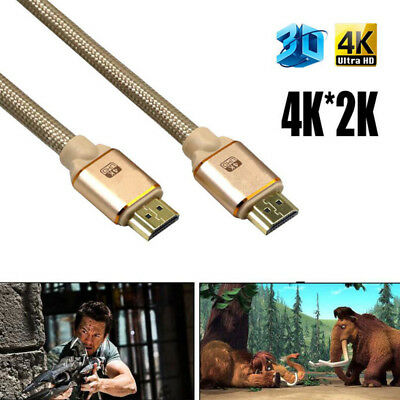 Premium Braided HDMI Cable V2.0 4K Cable@60Hz 3D 1080P-HDTV LCD LED For PS4 Gold