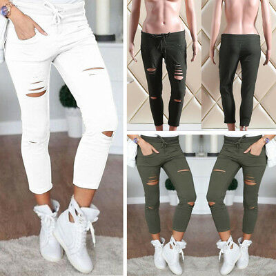 Women's Ripped Holes Skinny Jeans High Waist Stretch Pants Slim Pencil Trousers