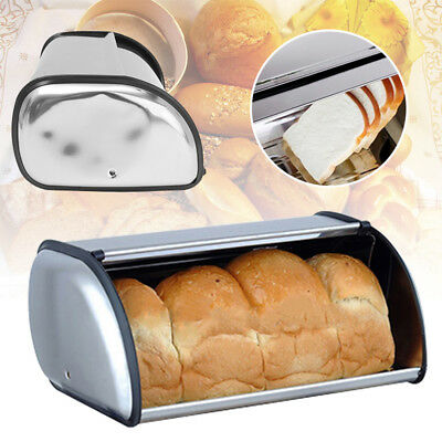 Stainless Steel Bread Box Bin Roll up Lid Large Capacity Storage Holder Keeper