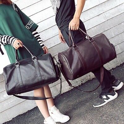 Large Mens PU Leather Vintage Duffle Luggage Weekend Gym Overnight Travel Bag