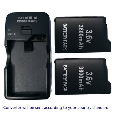 2X Rechargable BATTERY + DESKTOP Wall Charger FOR PSP 1000 1001 1003 1004