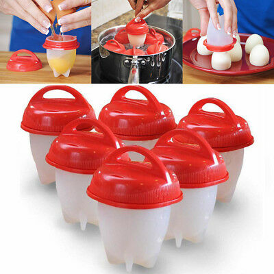 Hot Egglettes Egg Cooker Hard Boiled Eggs Without the Shell Red Silicone Egg Cup