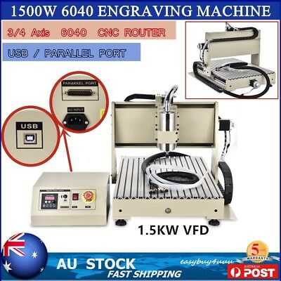 1500W 3/4 Axis 6040 USB CNC Router Engraver VFD/Spindle Engraving Carving Cutter