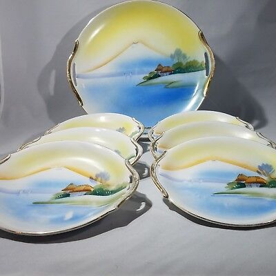 Nippon China S&K Handle Desert Plate Serving Set, Island Volcano - Saji & Kariya