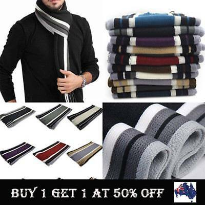 Men's Classic Cashmere Shawl Warm Long Fringe Striped Tassel Wrap Soft Scarf AU