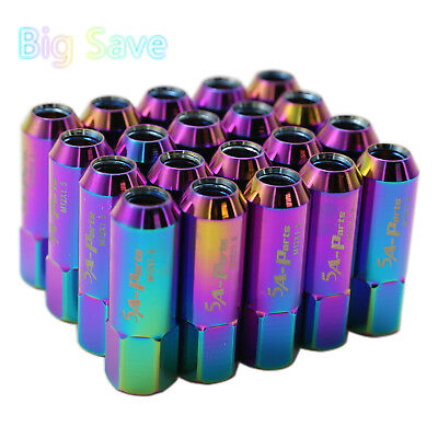 20PC Neo Chrome M12X1.5 60MM Extended Forged Aluminum Tuner Racing Lug Nut Set