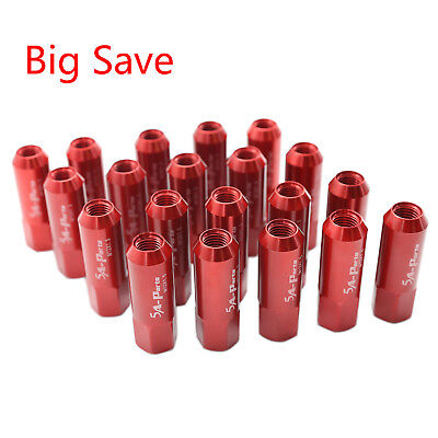 20PC Red JDM M12X1.5 60MM Extended Forged Aluminum Tuner Racing Lug Nut Set