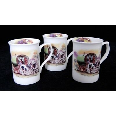 3x Staffordshire Fine Bone China Mugs Featuring a Horse Drawn Wagon