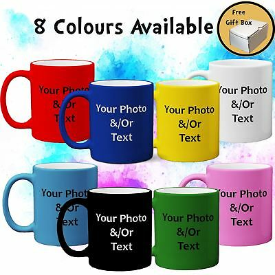 Personalised Print Satin Coated Mug Your Photo Text Image Premium Gift Free Box