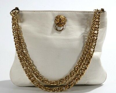 Vintage White Leather Classic 1950 s Handbag Shoulder Purse Lion Head Detail 385baf7138722