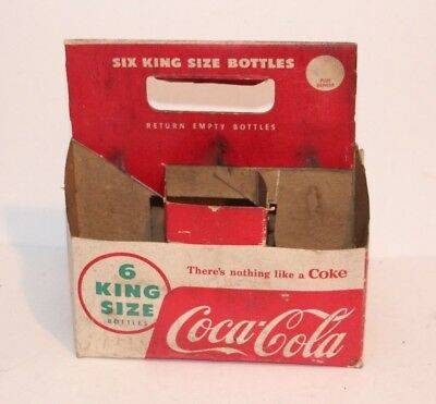 Vintage Advertising Coke Coca Cola 6 King Glass Pop Soda Bottle Carton Carrier