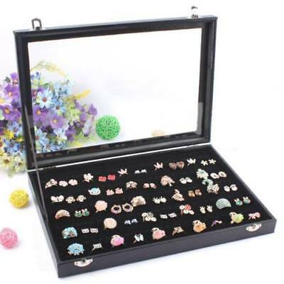 New 100 Slot Women Jewelry Rings Box Storage Display Case Glass Top and Lock EC