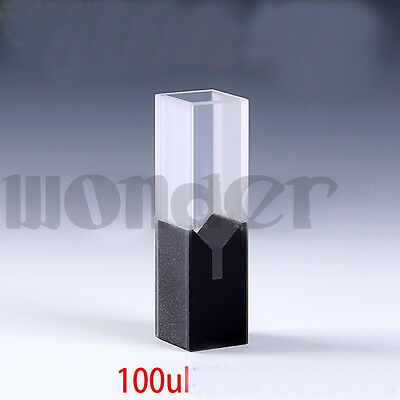 100ul 10mm Path Sub-Micro JGS1 Quartz Cell With Black Walls Center Height 15mm
