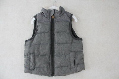 Baby Boy Size 0,1,2 Milky Winter Quilted Charcoal Vest NWT
