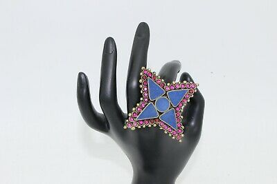 Afghan Statement Stone Big CHunky Ring Cocktail Ethnic Tribal Costume Jewellery