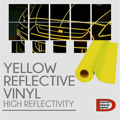 "YELLOW Reflective Vinyl Adhesive Sign Plotter High Reflectivity 12""x 5 Feet"