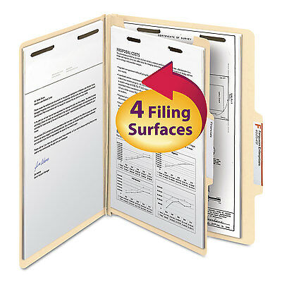 Smead Manila Classification Folders with 2/5 Right Tab Letter Four-Section 10