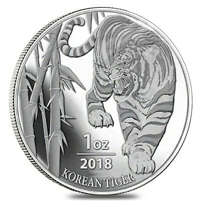 2018 1 oz South Korea Silver Tiger Medal BU