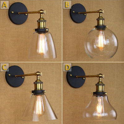 Modern Industrial Antique Brass Arm Wall Sconce Light  Glass Shade Wall Lamp
