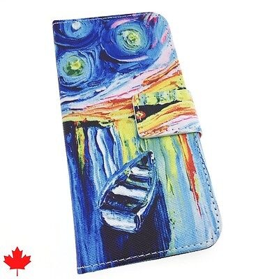 Samsung Galaxy S6 S7 S7 EDGE Grand Prime Art Paint Leather Wallet Cover Case