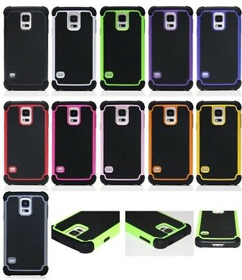 Samsung Galaxy S5 Hybrid Dual Hard Armour Tough Shell Silicone Cover Case 5.1""