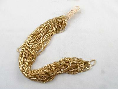 Antique/vintage Hank Of Gold Glass Tube Beads