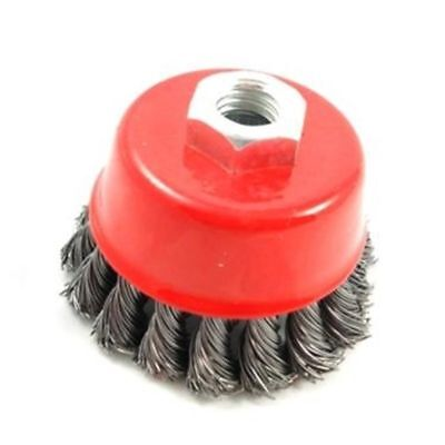 """X2 T/zone M14 3"""" Twist Knot Wire Cup Brush - Angle Grinder 3 Wheel 45 9 Crew Set"""