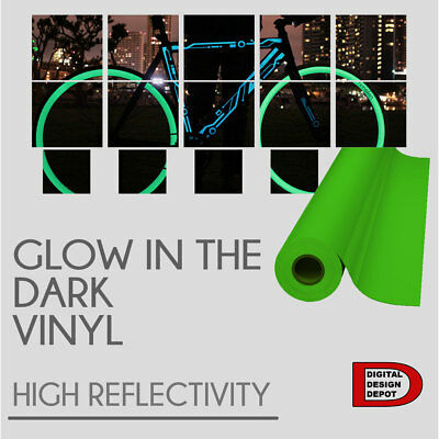 """Glow in the dark Reflective Vinyl Adhesive Cutter Sign 24""""X1 FOOT"""