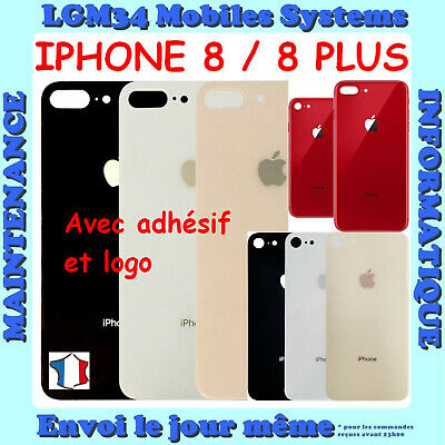Vitre Arriere Cache Batterie Pour Iphone 8 / 8 Plus Noir - Blanc - Or Rose - Red