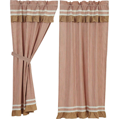 """Country Primitive Rustic Kendra Stripe Red Panel Curtains 63""""L Vhc Brands"""