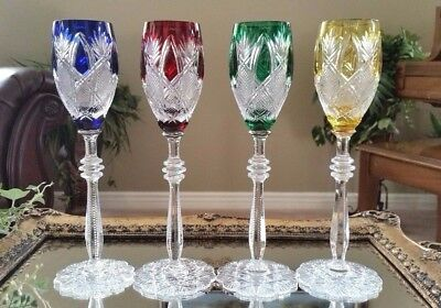 FABERGE Imperial CZAR SET OF (4) Cut to Clear Crystal Sherry Wine Goblets SIGNED
