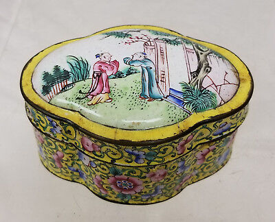 Antique Vintage Chinese Peking Canton Enamel Lobed Small Snuff BOx Yellow