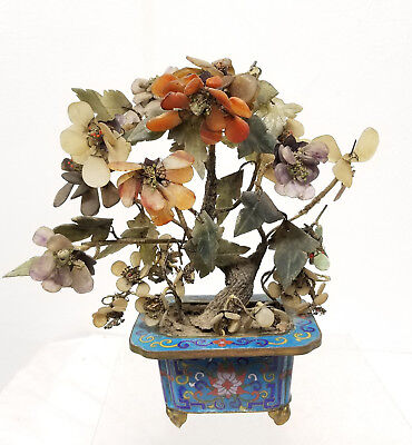 Antique Carved Chinese Jade Tree Carnelian Agate Cloisonne Amethyst