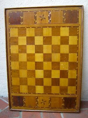 """Antique 1800s folk art game board inlaid woods stars, chess checkers, 22"""" x 16"""""""