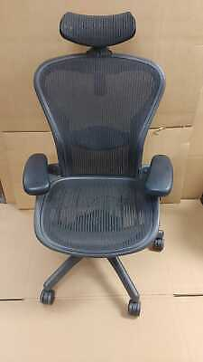 Fully Adjustable Herman Miller Size B Aeron Chair + Lumbar (w/ hardwood casters)