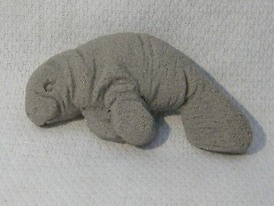 Collectible Shimmery Manatee / Sea Cow Figurine Magnet . Sculpted Sand / Stone