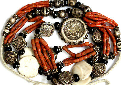 Rare Antique Bukhara Wedding Necklace Solid Silver Genuine Ancient Coral Beads