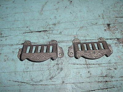Antique Primitive Cast Iron Bin Drawer Pulls  Lot Of 2