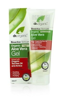 Dr Organic Aloe Vera Gel w Organic Tea Tree Oil & Arnica 200ml. Free Shipping