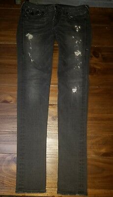 true religion julie distressed womens size 29 black gray charcoal skinny jeans