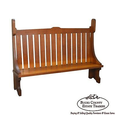 Antique Arts & Crafts Prairie School Solid Cedar Wood High Back Settee